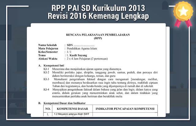 RPP PAI SD Kurikulum 2013 Revisi 2016 Kemenag Lengkap