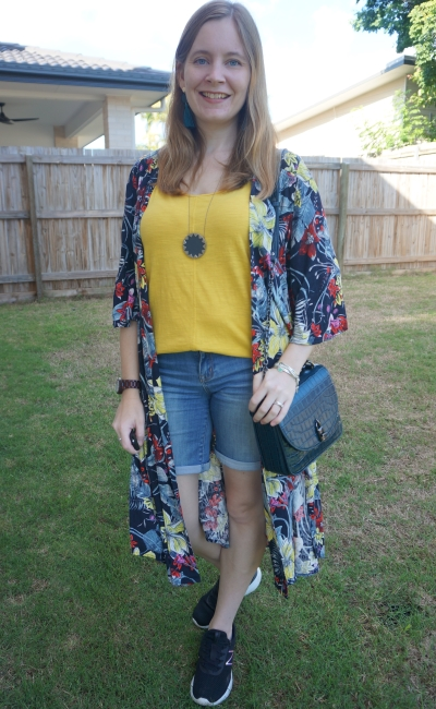 navy floral print duster kimono with mustard yellow tank bermuda denim shorts and rebecca minkoff love too bag | awayfromblue