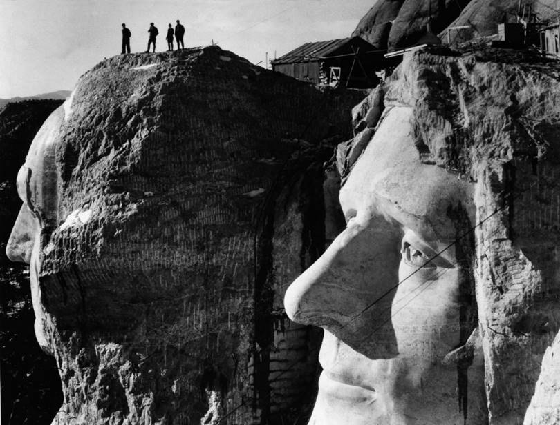 Construction of the Mount Rushmore National Memorial in 1936.