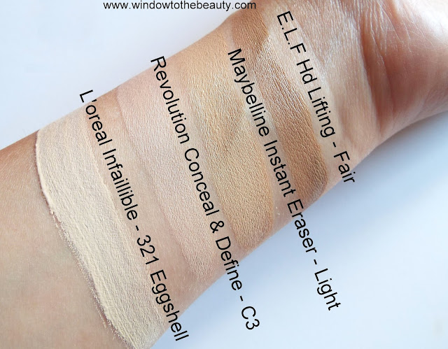 loreal maybelline elf revolution concealer shades swatches comparison