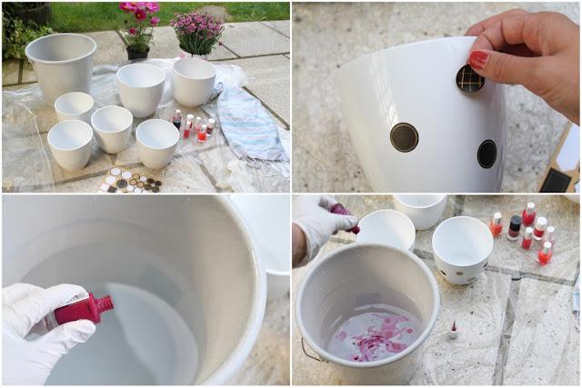 DIY Anleitung Blumentoepfe marmorieren mit Nagellack Jules kleines Freudenhaus