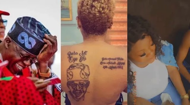 Husband of woman who tattooed Tinubu's face on her body sends her packing (Video)