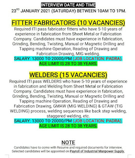 Job Vacancy For ITI Fitter And Welder Experienced Candidates in Manufacturing Industry Gujarat