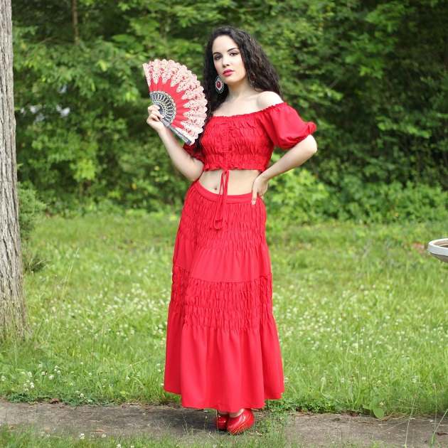 SHEIN Red Top and Skirt Set