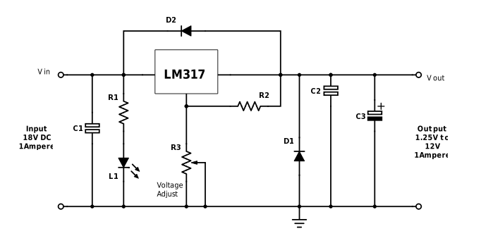 variable power supply using lm317 voltage regulator simple rh simplecircuitsprojects blogspot com