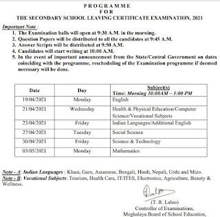 Meghalaya SSLC Exam Routine 2021