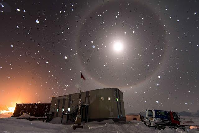 Moon Halo over Antarctica