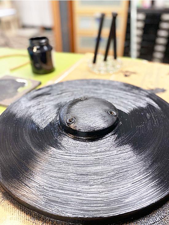 black painted table bottom