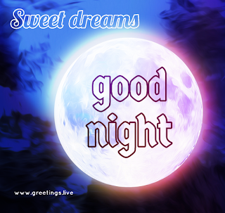 Good Night greetings with full moon background