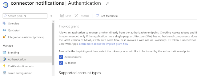 Enable tokens on azure AD app