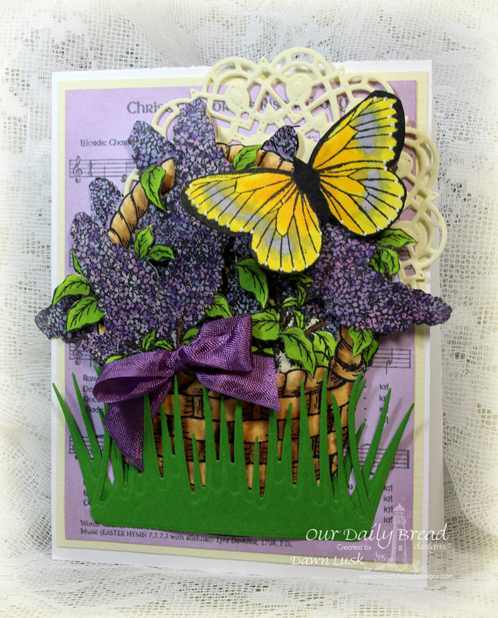 Stamps - Our Daily Bread Designs Christ the Lord Background, Lilac, Butterfly Single, ODBD Custom Grass Border Die, ODBD Custom Butterfly Die, ODBD Custom Doily Dies