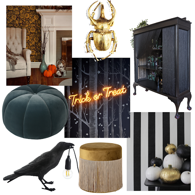 black, bold halloween decor collage images of interiors and quirky halloween styled items