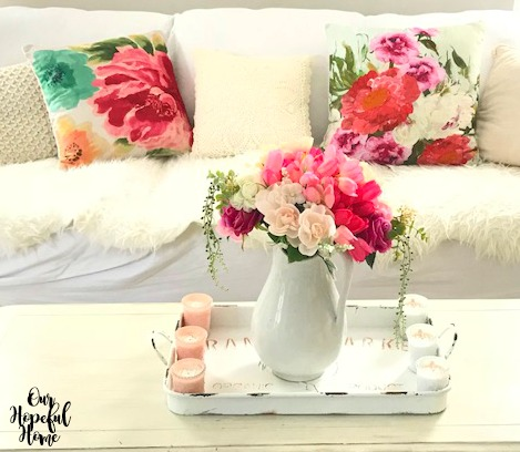 summer floral pillows ironstone pitcher faux flowers bouquet coffee table farmhouse tray