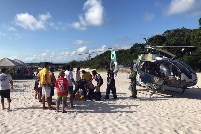 Resgate com aeronave salva vidas no Litoral do Paraná