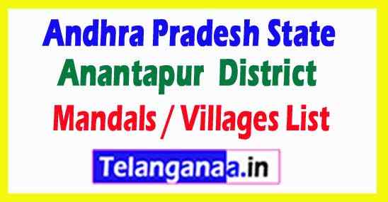Anantapur District All Mandal or Villages List in Andhra Pradesh State , India