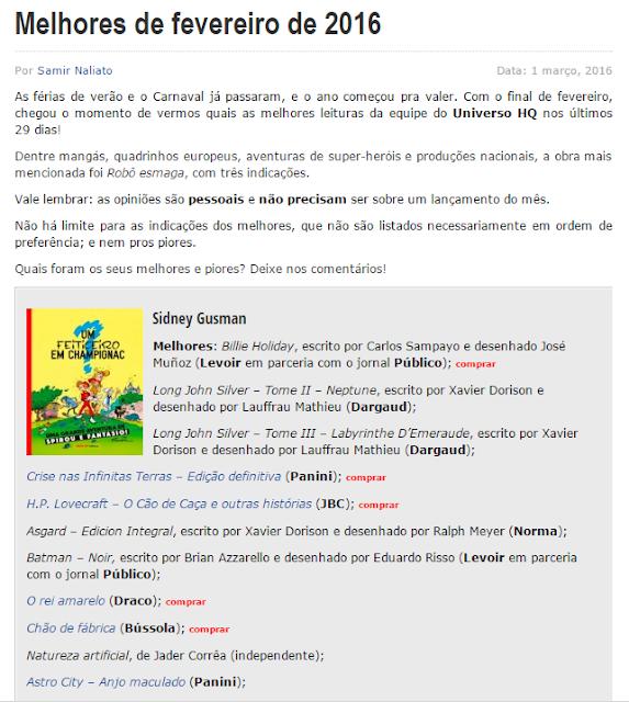 """A postagem orignal onde Sidney Gusman coloca """"O Rei Amarelo em Quadrinhos"""" entre os melhores de 2016"""