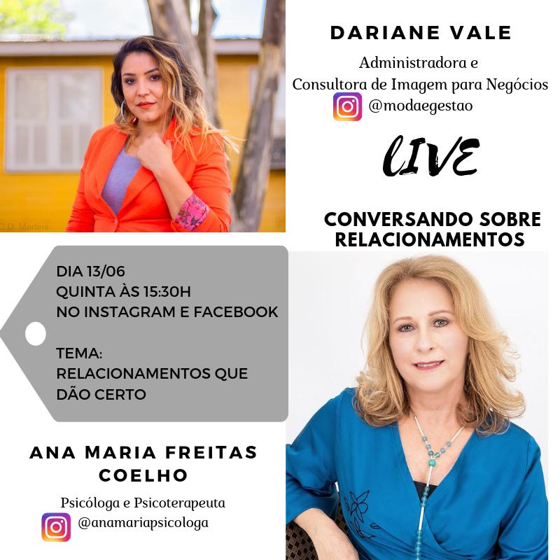 Live: Relacionamentos que dão certo com a Psicóloga Ana Maria Coelho