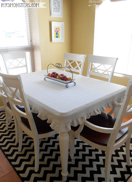 DIY Tailored Tablecloth from a Painter's Drop Cloth