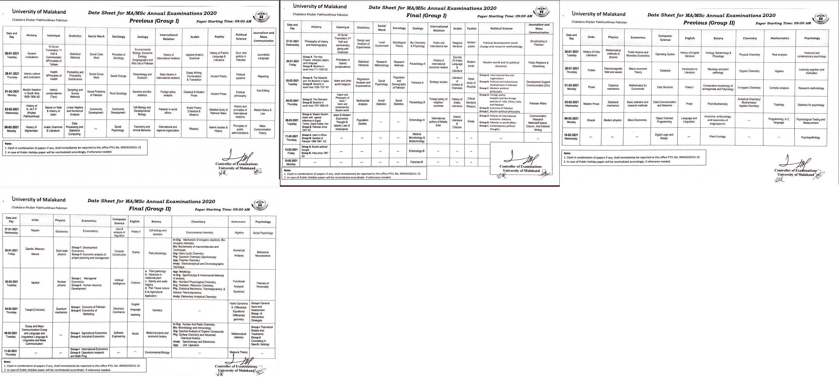Date Sheet MA MSc University OF Malakand Annual 2020