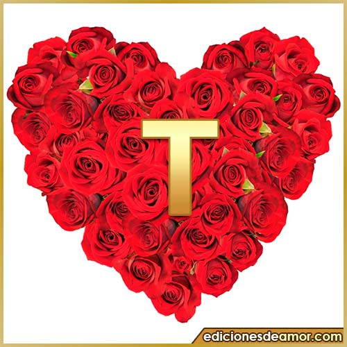 corazón de rosas con letra T