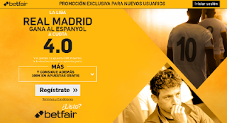 betfair supercuota 4 Real Madrid gana Espanyol Liga 18 septiembre