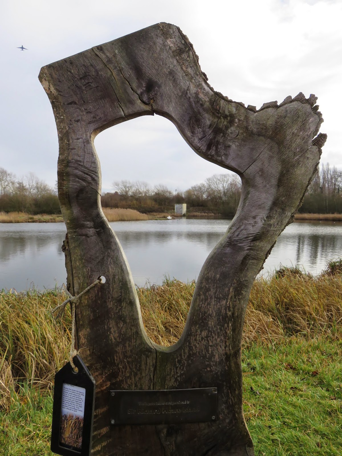 Sculpture at the Wildfowl and Wetland Trust London Sanctuary in winter