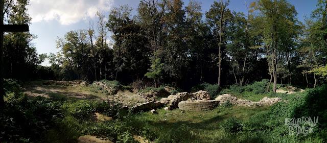 Az almádi bencés kolostorrom falmaradványai az erdőben, jobb középen a rotunda maradványaival