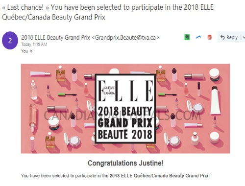 Check Your Emails ELLE 2018 Beauty Grand Prix Chosen