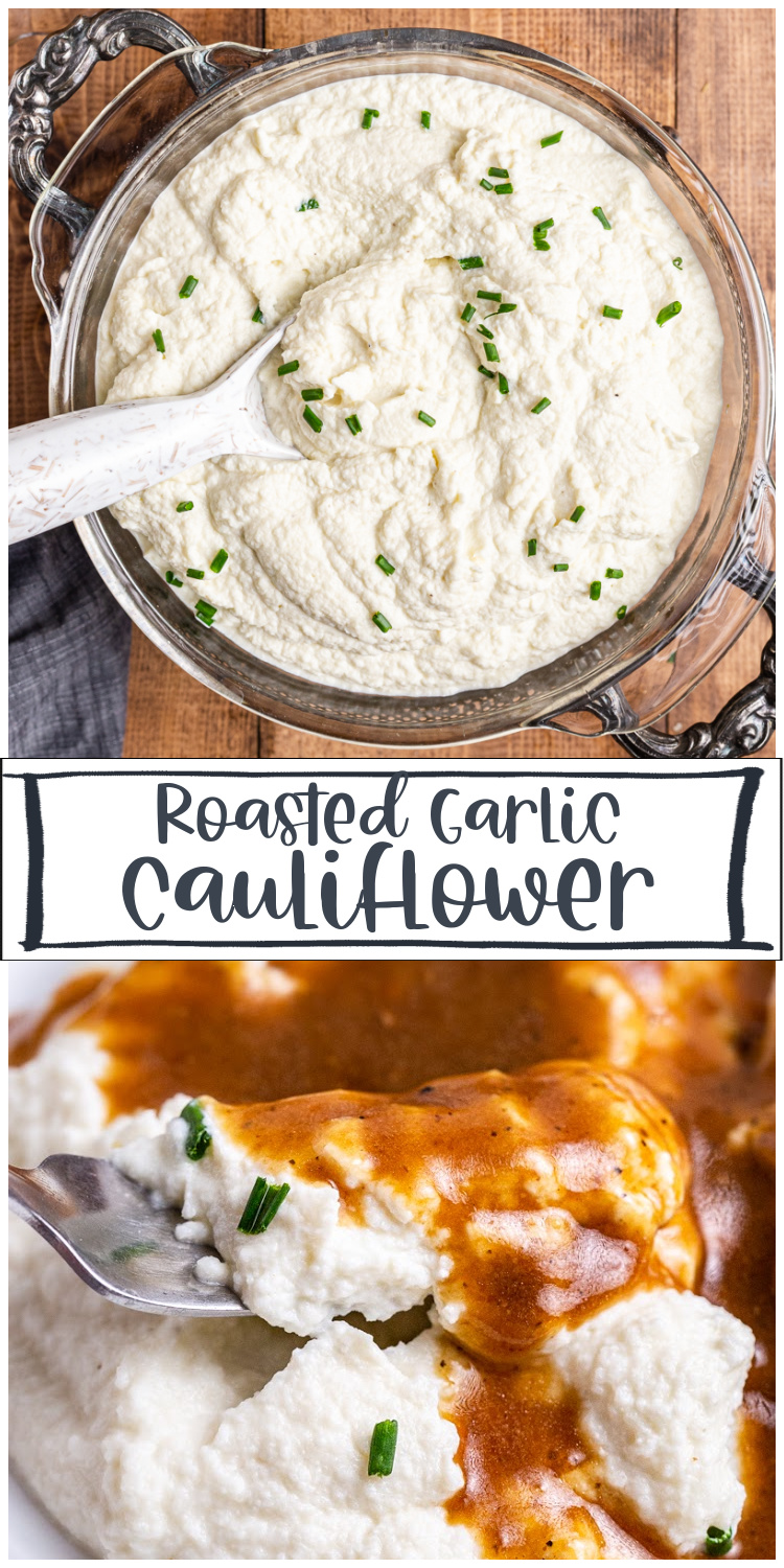Roasted Garlic Mashed Cauliflower - This recipe will quickly become a low carb dinner staple! It is deliciously buttery and creamy and that roasted garlic flavor takes it over the top! #keto #lowcarb #glutenfree #mashed #potato #cauliflower #thanksgiving #christmas #sidedish