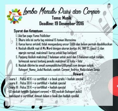 Info Lomba Menulis Puisi dan Cerpen Tema Musik DL. 19 ...