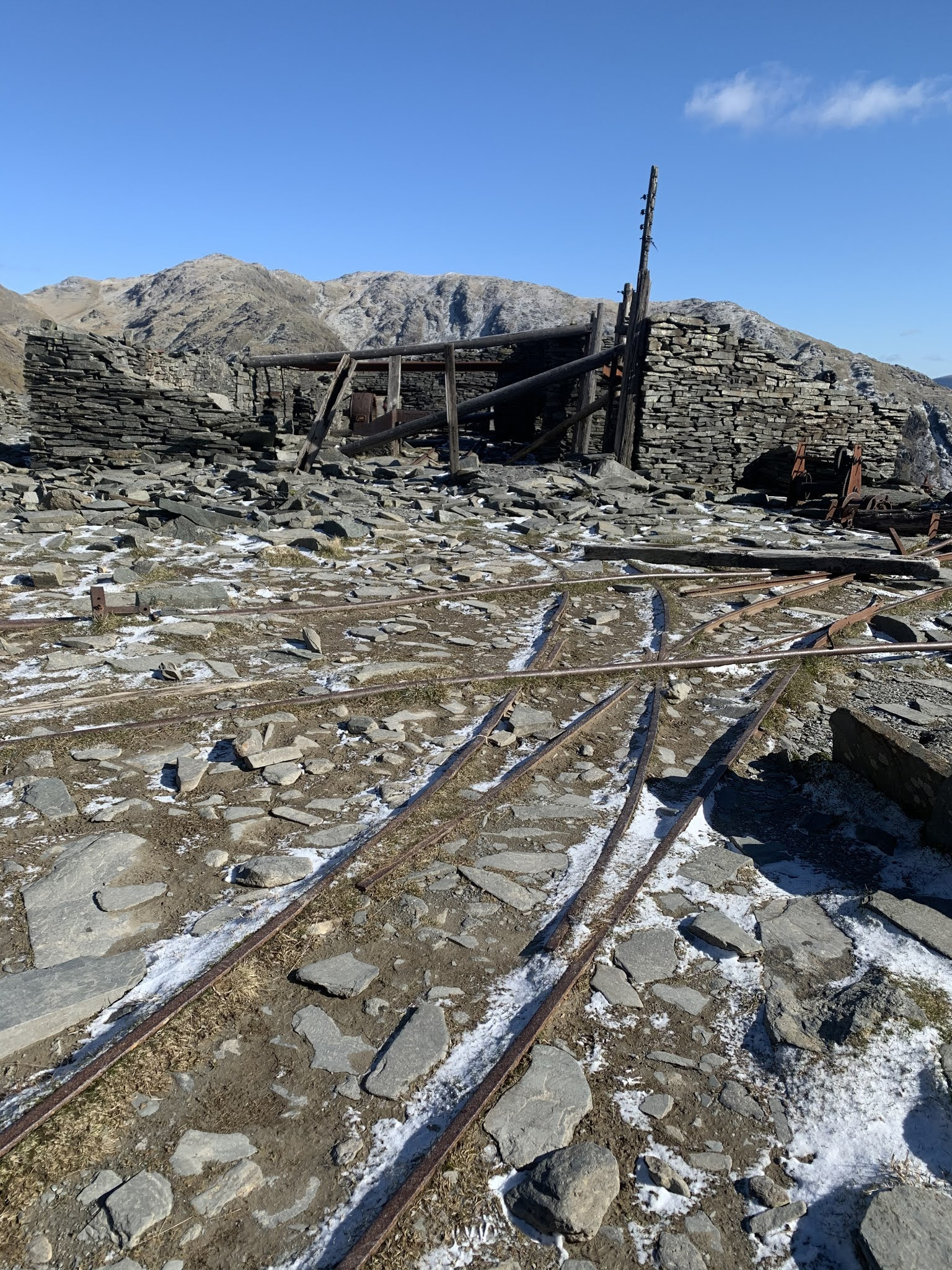 remnants from slate mining at old man coniston