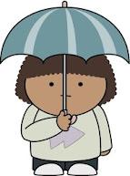 傘を差す子供
