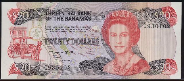 Bahamas Banknotes 20 Dollars banknote 1984 Queen Elizabeth II