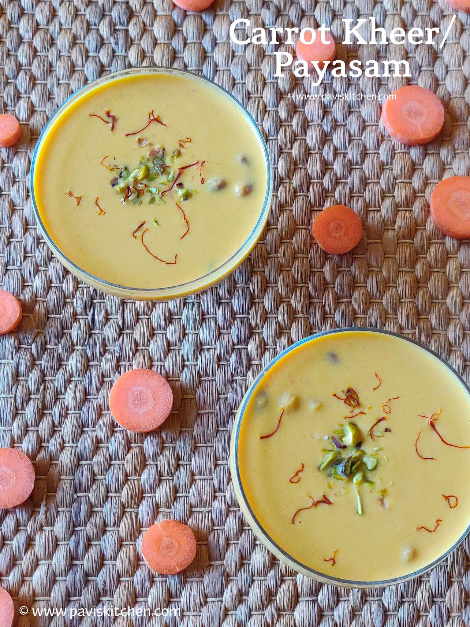 Carrot kheer recipe | Carrot payasam recipe | Indian carrot dessert recipe