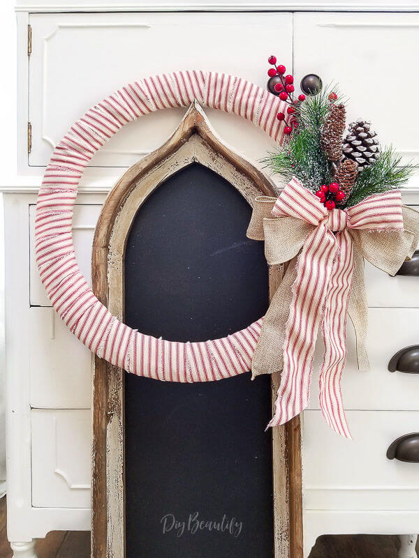 Christmas red ticking wreath