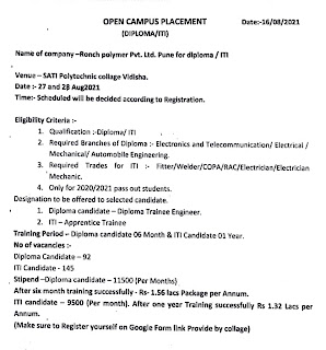 Ronch Polymer Pvt. Ltd Recruitment 2021 For ITI and Diploma Holders    Campus Placement Drive