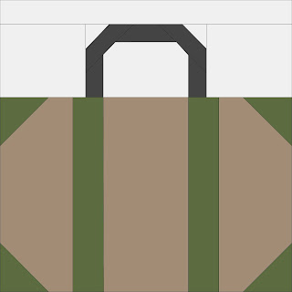 tan and green suitcase quilt block