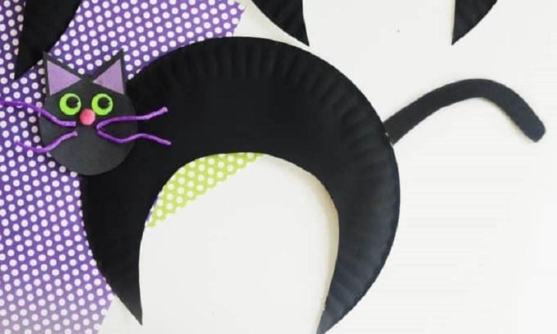 paper plate black cat craft