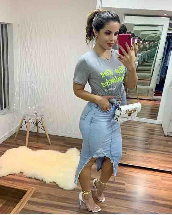 Ideias de looks com saia midi jeans