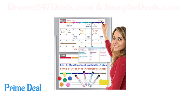 50% off Calendar Whiteboard Dry Erase Magnetic for Refrigerator 4 in 1: Monthly, Weekly Planner, Habit Tracker and Notepad for Wall and Fridge Family Calendar. Bonus 6 Color Pins 4 Markers and Eraser Included