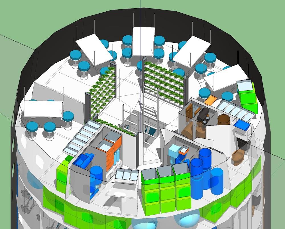 Deck 5 (Food Court) of SpaceX 100-passenger Starship interior concept by Joseph Lantz