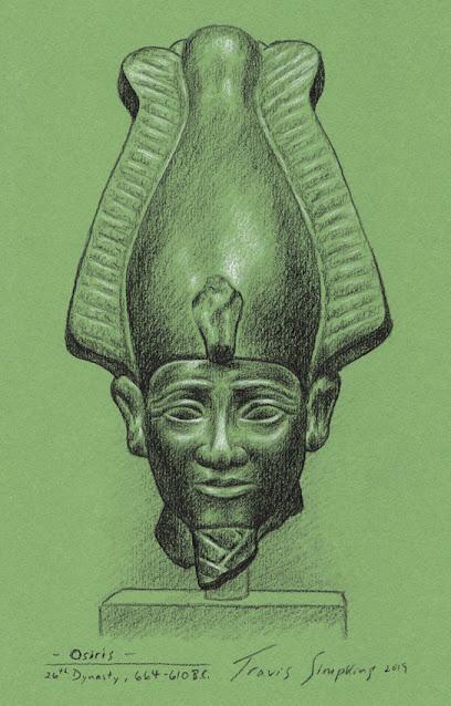 Osiris. Ancient Egyptian God. 26th Dynasty. 664-610 BC. Sketch by Travis Simpkins