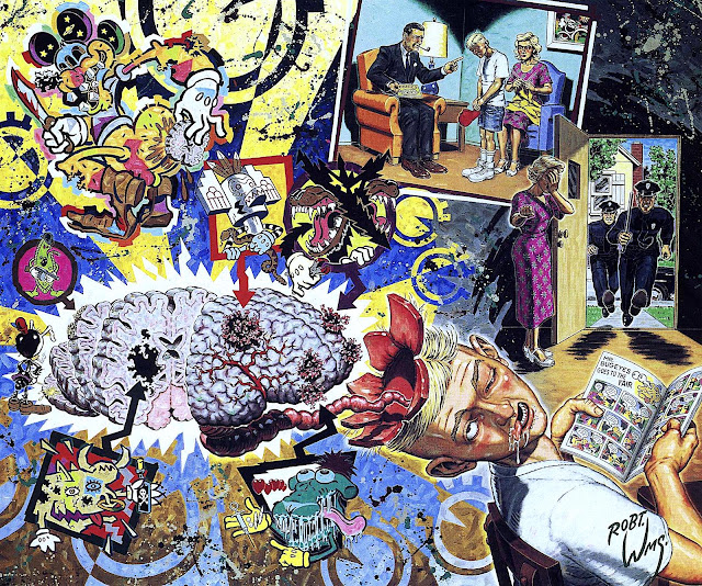 a Robert Williams painting about the past perceived danger of comic books