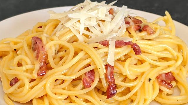 recette, spaghetti, carbonara, pates, pâtes, recette, traditionnelle, facile, rapide, étape par étape