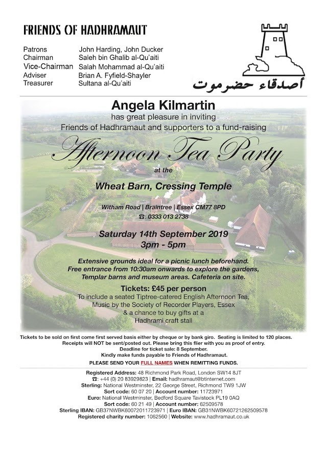 Friends of Hadhramaut Invitation, September 14, 2019. Essex,  UK.