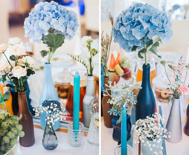 dekoracje ślubne błękit, ślub na śląsku wilga i kruk