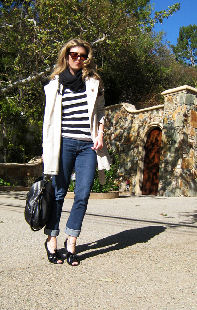 striped shirt, cuffed jeans, trench coat