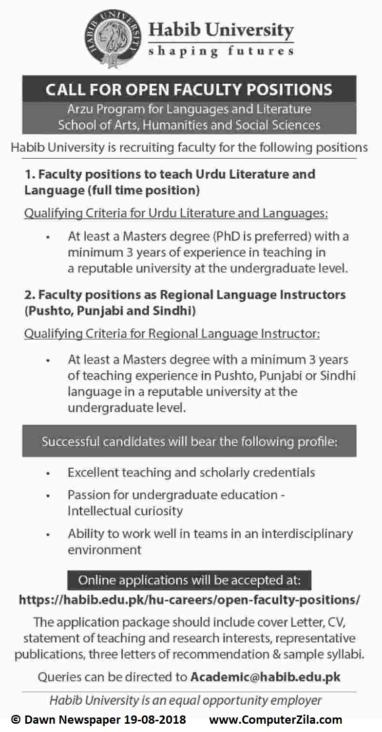 Open Faculty Positions at Habib University