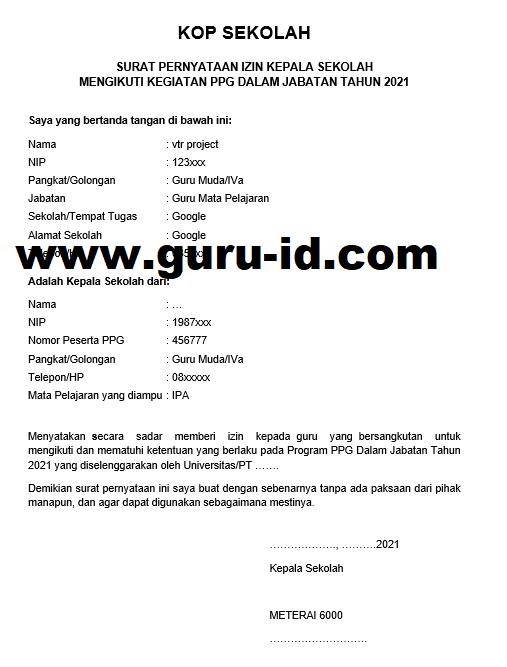 gambar surat izin dari atasan untuk ikut ppg tahun 2021