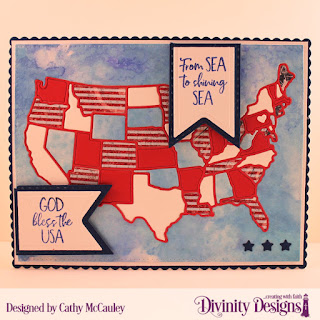 Divinity Designs Stamp Set: America the Beautiful, Paper Collection Patriotic, Custom Dies: Scalloped Rectangles, Pierced Rectangles, USA Map, Pennant Flags, Double Stitched Pennant Flags